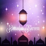 Ramadan Kareem background with hanging lantern and mosque silhouette royalty free illustration