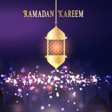 Ramadan Kareem background with hanging lantern. Bokeh lights and mosque silhouette royalty free illustration