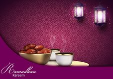 Ramadan Kareem background. Iftar party with traditional coffee cup, bowl of dates and lanterns hanging in a purple glowing backgro. Illustration of Ramadan stock illustration