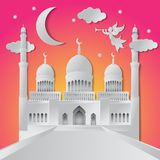 Ramadan kareem background illustration angel, musical trumpet, mosque, moon, star, and clouds. Paper cut. Vector illustration stock illustration