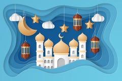 Ramadan kareem background illustration. Paper cut. Ramadan kareem background illustration with arabic lanterns, mosque, moon, star, and clouds. Paper cut stock illustration