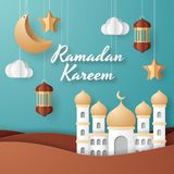 Ramadan kareem background illustration. Paper cut. Ramadan kareem background illustration with arabic lanterns, mosque, moon, star, and clouds. Paper cut stock illustration