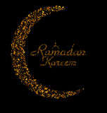 Ramadan Kareem Background with Moon and Calligraphy Text Made of Golden Confetti Royalty Free Stock Photos