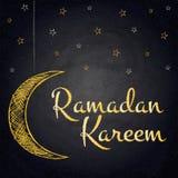 Ramadan Kareem background with moon and stars on blackboard Stock Image