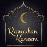 Ramadan Kareem background with moon and stars on blackboard Stock Photo