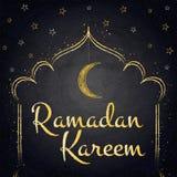 Ramadan Kareem background with moon and stars on blackboard Stock Photography