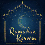 Ramadan Kareem background with moon and stars on blackboard Royalty Free Stock Photos