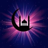 Ramadan starburst background. Ramadan Kareem background with mosque in crescent on starburst Royalty Free Stock Photo