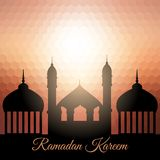 Ramadan Kareem background with mosque silhouette Stock Image