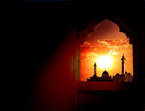 Ramadan Kareem background. Mosque window Stock Images