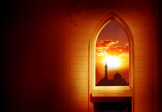 Ramadan Kareem background. Mosque window royalty free stock photo