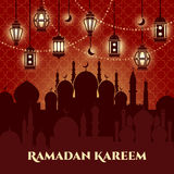 Ramadan Kareem Background. With mosques and minarets