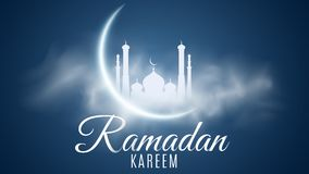 Ramadan Kareem background. Religion Holy Month. Caligraphy and lettering. Bright moon. Clouds. Temple with domes. Old Muslim city. stock illustration