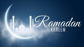 Ramadan Kareem background. Religion Holy Month. Caligraphy. Light moon. Clouds. Temple with domes. Old Muslim city. Cover, banner. For design. Vector royalty free illustration