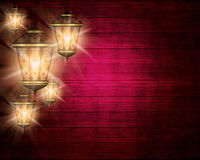Ramadan kareem background with shiny lanterns. Dark wooden ramadan kareem background with shiny lanterns royalty free illustration