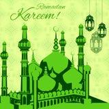 Ramadan Kareem background. Vector illustration of illuminated lamp for Ramadan Kareem background