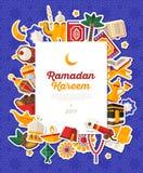Ramadan Kareem Banner With Flat Sticker-Ikonen Lizenzfreie Stockbilder