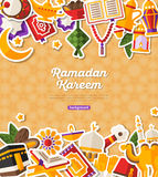 Ramadan Kareem Banner With Flat Stickers Photo stock