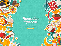 Ramadan Kareem Banner With Vertical Borders Image stock