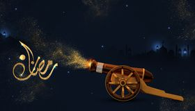 Ramadan Kareem beautiful greeting card with arabic calligraphy which means ``Ramadan mubarak ``. 3D rendering of a ramadan copper cannon. ramadan cannons shot Royalty Free Stock Images