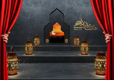 Ramadan kareem lanterns, 3d rendering. Ramadan Kareem beautiful greeting card with arabic calligraphy which means ``Ramadan kareem ``-traditional lantern of Royalty Free Stock Images