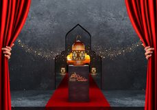 Ramadan kareem lanterns, 3d rendering. Ramadan Kareem beautiful greeting card with arabic calligraphy which means ``Ramadan kareem ``-traditional lantern of Stock Photos