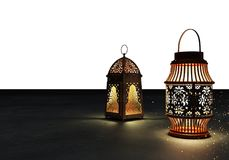 Ramadan kareem lanterns, 3d rendering. Ramadan Kareem beautiful greeting card with arabic calligraphy which means ``Ramadan kareem ``-traditional lantern of Stock Photography