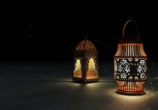 Ramadan kareem lanterns, 3d rendering. Ramadan Kareem beautiful greeting card with arabic calligraphy which means ``Ramadan kareem ``-traditional lantern of Stock Image