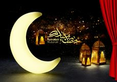 Ramadan kareem lanterns, 3d rendering. Ramadan Kareem beautiful greeting card with arabic calligraphy which means ``Ramadan kareem ``-traditional lantern of Royalty Free Stock Image