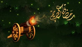 Ramadan Kareem beautiful greeting card with arabic calligraphy which means: Ramadan mubarak. 3D rendering of a ramadan copper cannon. ramadan cannons shot Stock Images