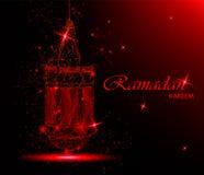Ramadan Kareem beautiful greeting card with traditional Arabic lantern. Polygonal art. On red background. Usable for Eid Mubarak. Stock vector