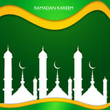 Ramadan kareem beautiful mosque shiny green Royalty Free Stock Photography