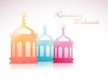 Ramadan Kareem beröm med färgrika arabiska lampor Arkivfoto