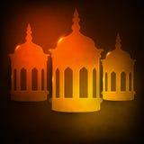 Ramadan Kareem beröm med glansiga arabiska lampor Arkivfoto