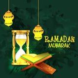Ramadan Kareem beröm med quranen Shareef Fotografering för Bildbyråer