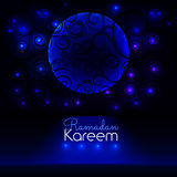 Ramadan Kareem. Big window with a beautiful ornament in which stars and the moon are visible. Royalty Free Stock Photography