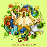 Ramadan Kareem Blessing for Eid background. Vector illustration of Ramadan Kareem Blessing for Eid background with Islamic mosque royalty free illustration