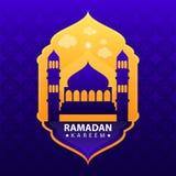 Ramadan kareem on blue abstract background vector illustration