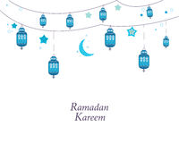 Ramadan Kareem with blue lamps, crescents and stars. Traditional black lantern of Ramadan background Royalty Free Stock Images