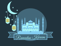 Ramadan Kareem, blue mosque, minaret, lantern and moon, muslim holiday lights on a white background. Vector Royalty Free Stock Photography