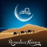Ramadan kareem with camel walks through in desert on night day Royalty Free Stock Photos
