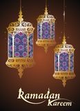 Ramadan Kareem card with Arabic Lamp Royalty Free Stock Photos