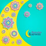 Ramadan Kareem card with moon. Islamic greeting card. Arabic holidays design. Round elements,flowers. Floral pattern with t. Ext. Traditional islam fasting royalty free illustration