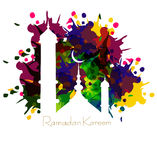 Ramadan kareem card with nice grungy colorful mosque Royalty Free Stock Image