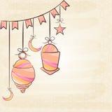 Ramadan Kareem celebration with arabic lamp, moon and stars. Royalty Free Stock Photo