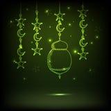 Ramadan Kareem celebration with arabic lamp, moon and stars. Royalty Free Stock Image
