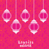 Ramadan Kareem celebration with arabic lamps or lanterns. Royalty Free Stock Images