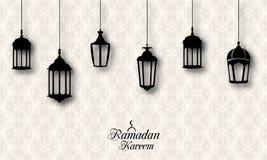 Ramadan Kareem Celebration Background con las linternas tradicionales Fanoos Imagen de archivo