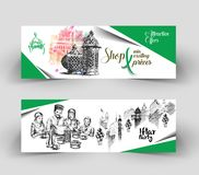 Ramadan Kareem celebration banner, Hand Drawn Sketch Vector illu Royalty Free Stock Images