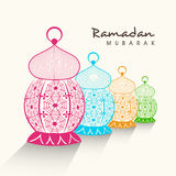 Ramadan Kareem celebration with colorful arabic lamps. Royalty Free Stock Photography